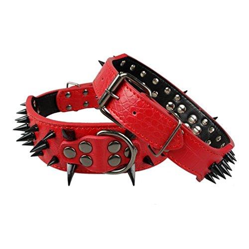 Vivi Bear - Impresionante collar de piel sintética, estilo punk, con pinchos de 5cm de ancho, para perro de tamaño mediano o grande