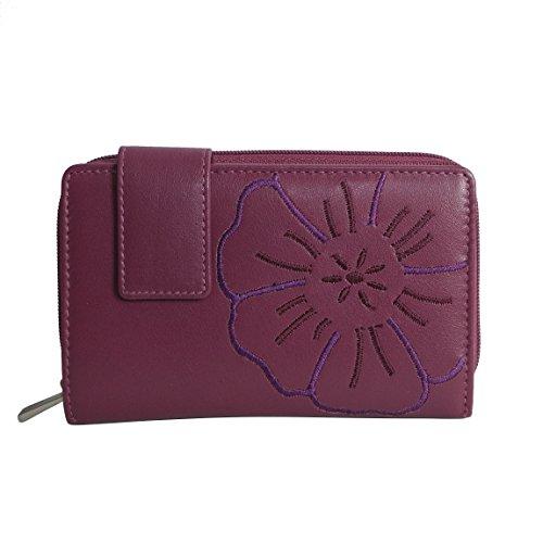 Branco Leder - sehr feine Trifold Leder Damen Geldbörse, Portemonnaie, Ladys Wallet mit aufgesticktem Blumen Motiv verfügbar - präsentiert von ZMOKA® (Beere)