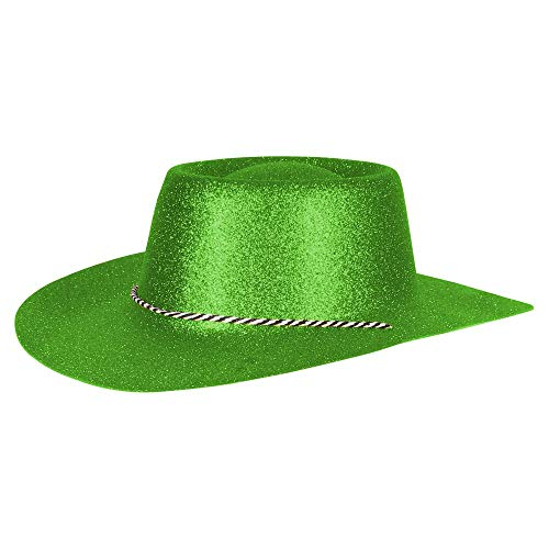 Ciffre Texas Westernhut Party Hut Sheriff Fasching Masken Perücke Maske - Cowboyhut Glitzer Look Neon Grün 10 er Set