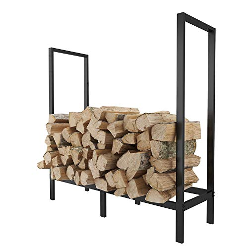 %9 OFF! FOYUEE Firewood Rack Outdoor 4 Ft Log Holder for Fireplace Indoor Fire Wood Storage Holding ...