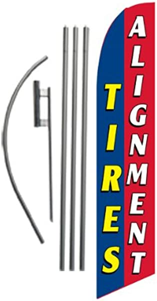 Tires Alignment Advertising Feather Banner Swooper Flag Sign With Flag Pole Kit And Ground Stake