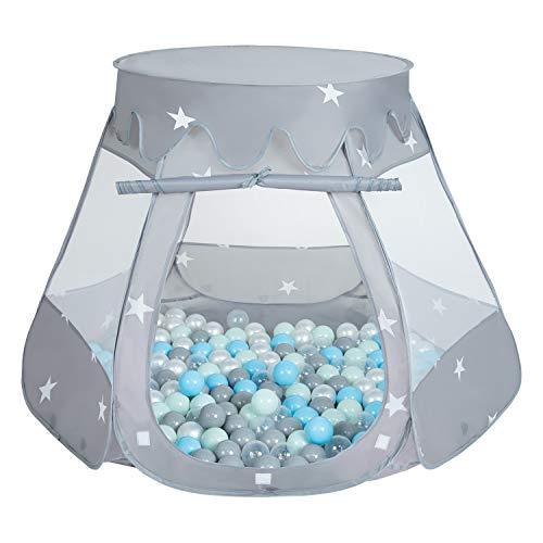 Selonis Play Tent 105X90cm/100 Balls Castle House Pop Up Ballpit Plastic Balls For Kids, Grey:Pearl-Grey-Transparent-Babyblue-Mint