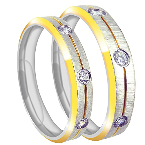 Everstone Su & Ella Hombres & Mujeres Novio &Novia a juego anillo de titanio Set 18K Color oro amarillo Mate cepillado CZ diamantes 6MM 4MM Reino Unido Tamaño G a Z7