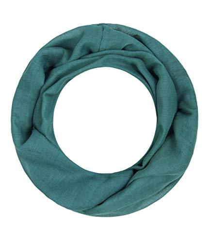 Majea Loop Alice schmaler Damen-Schal Loop Frühlingsschal Schlauchschal Rundschal Tuch uni unisex unifarben einfarbig Halstuch (petrol)