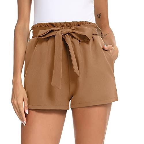 Irevial Pantaloncini Donna Eleganti con Fiocco Decorato Pantaloni Donna Estivi Corti con Tasche