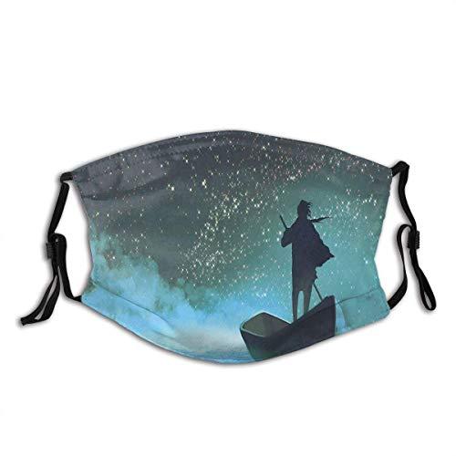 SUN Flower Mann Ruderboot im Meer unter nebligen Himmel mit Milchstraße Magical View Stoff Half Face Cover Mund mit Ohrenschützern Shiled