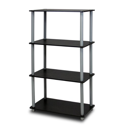 Furinno (99557BK/GY) Turn-N-Tube 4-Tier Multipurpose Shelf Display Rack - Black/Grey