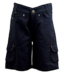 Fashtech Boys Cargo Shorts 6 Pocket Black