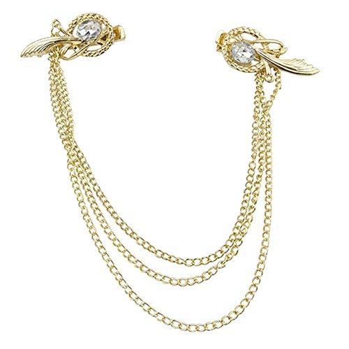 Lankater Hair Clip Pins Women Golden Plating Tassel Headbands Head Band Jewelry Headpiece Tone Crystal Feather Cuff Chain Hair Clip