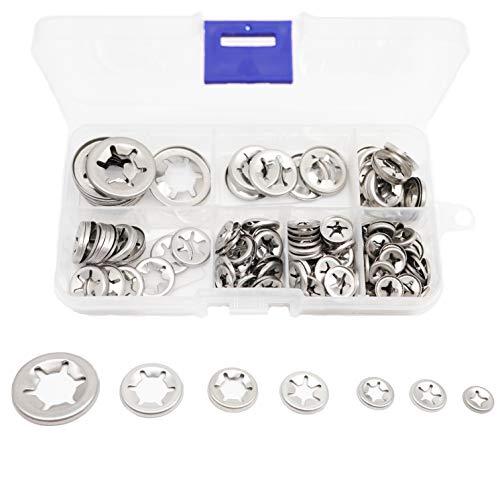 binifimux 165pcs Push Nuts Starlock Internal Tooth Locking Washers Assortment Kit, M3/ M4/ M5/ M6/ M8/ M10/ M12,304 Stainless Steel