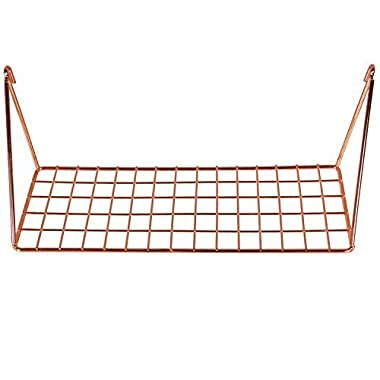 Simmer Stone Wall Grid Shelf, Wire Metal Hanging Rack for Wall Display & Storage, Size 11.8x4.3x4.7 inch (LxWxH), Rose Gold/Copper
