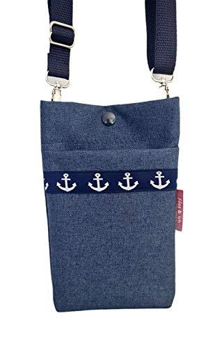 Handytasche zum Umhängen, maritim klein Damen Umhängetasche, Smartphonetasche, kleine Tasche Anker