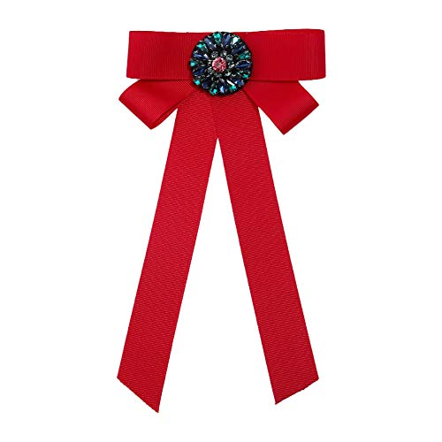 Kanggest.Elegante Broche de Lazo de Múltiples Capas para Mujer Señora Niñas, Accesorios de Ropa Joyería de Regalo Tela,Rojo,17cm*11cm