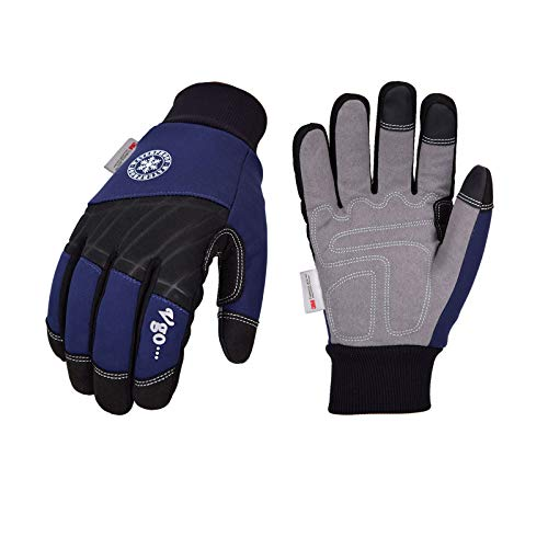 Vgo 1-Pair 32℉ or above 3M Thinsulate C40 Lined Winter Synthetic Leather Work Gloves, Waterproof Membrane (Size L, Dark Blue, SL1015FW)