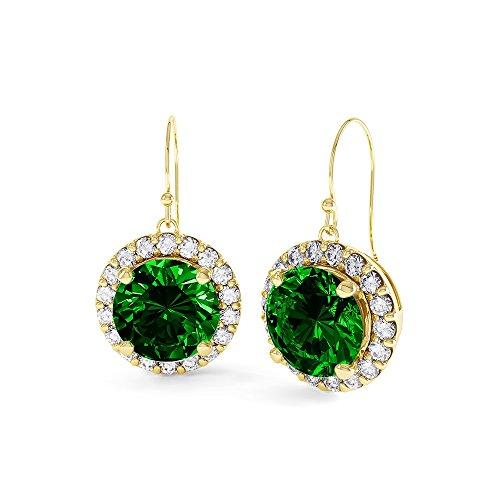 Jian London Damen-Ohrstecker, vergoldet, Smaragd-Imitat, Diamanten, 2,3Karat, rund