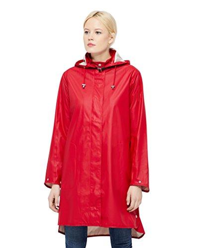 ILSE JACOBSEN HORNBÆK | RAIN71 | Langer Damen Regen Parka | Elegante A-Linie | Abnehmbare Kapuze | Wasserdicht Winddicht | Polyester mit Gummi Überzug | Deep Red | 36