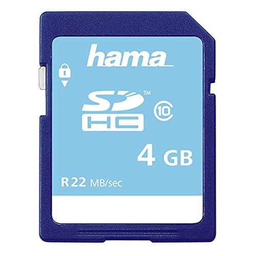 Hama Speicherkarte SDHC 4GB (SD-2.0 Standard, Class 10, High Speed, Datensicherheit dank mechanischem Schreibschutz, Beschriftungsfeld)