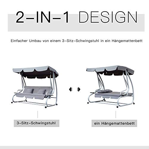 Outsunny Hollywoodschaukel Gartenschaukel 3-Sitzer Liegefunktion Stahl Grau 200x120x164cm - 3