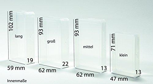 Kunststoffboxen Schüttelboxen Kleinteilaufbewahrung Leerhüllen Leerboxen Ordnungshilfen Ersatzhüllen Grundschule Plus Transparent Stapelbar PP-Etuis (mittel - 9,5 x 6,5 x 1,5 cm)