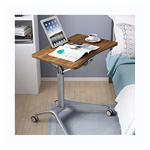 ABD Mesa de sobrecama con ruedas ajustable para ordenador portátil, mesa ajustable para escritorio, estación de trabajo de estudio (color café nogal, marco plateado)