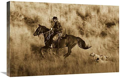 Global Gallery Caballo de Vaquero, seguido por Dos Perros, Oregon – Lienzo de Sepia, 76,2 x 50,8 cm