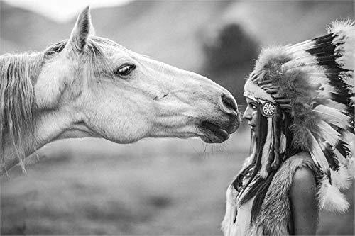 ZJMI Aboriginal meisjes en paarden op zoek gezicht naar het gezicht van de scène van mensen en dieren leven in harmonie beeld enkele Canvas Schilderen 60×80cm