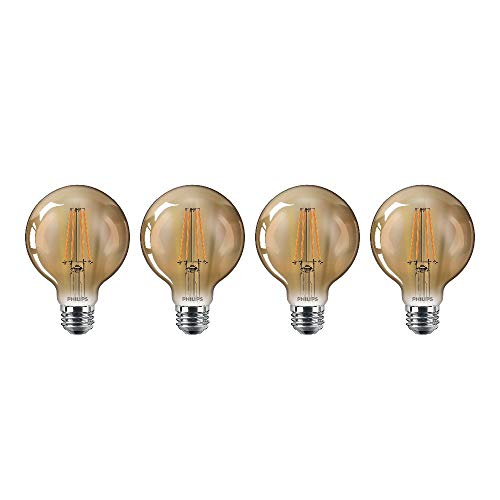 Philips 470419 40 Watt Equivalent Vintage Amber Glass Dimmable G25 Indoor/Outdoor LED Light Bulb, 4 Pack