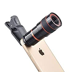 Rihav 8X Zoom Mobile Phone Telescope Universal Clip Lens DSLR Like Camera Compatible with All Android, iOS and Windows Devices