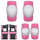 Nologo Equipo de Protección de la Rodilla Pad Coderas los Dispositivos de protección Gear Set for Patinar Patines de Ruedas Ciclismo monopatín Skatings Deportes (Color : Pink, Size : Large)