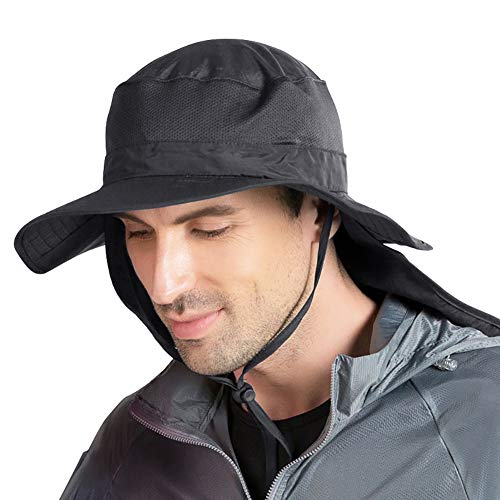 Peicees Fishing Hat UPF50+ UV Protection Mesh Sun Cap Wide Brim Safari...