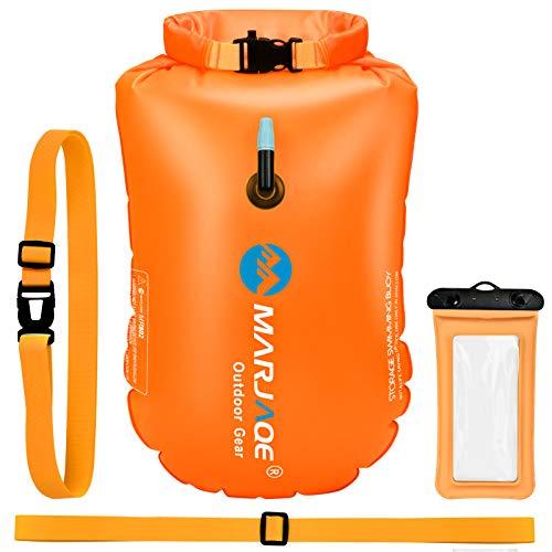 EKKONG Schwimmboje, Triathlon Rettungsboje, Swimming Buoy mit Trockensack, Wasserdichter Aufblasbarer Rettungsboje für Open Water Schwimmen Triathleten Surfer (Orange)
