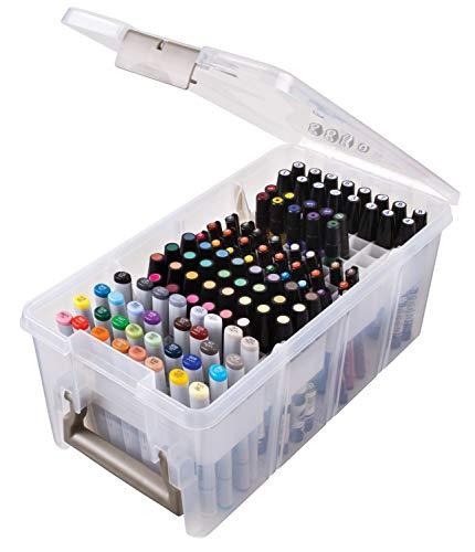 ArtBin 6934AB Caixa com badeja para canetas, organizador de arte e artesanato, [1] Caixa de armazenamento de plástico, transparente, 38 x 20 x 16 cm, translúcido