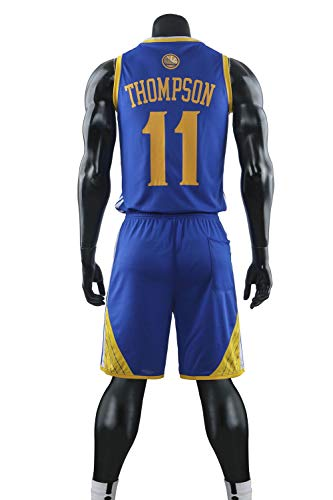 YDYL-LI - Uniforme de baloncesto deportivo de la NBA Warriors #11 THOMPSON uniformes de baloncesto para adultos y niños, camiseta de baloncesto, incluye pantalones cortos, azul, niño/L (140 ~ 150 cm)