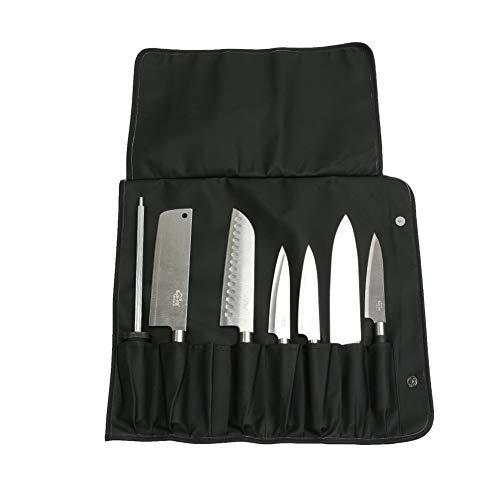Sac à couteaux JURONG avec 8 fentes, sac à couteaux robuste, étui à outils, sac de rangement pour les chefs, les cuisiniers, les étudiants culinaires