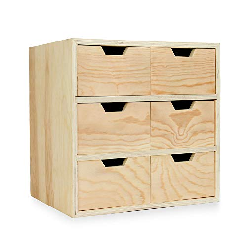 Mini cofre de madera de 6 cajones | Cajones para manualidades y costura | Organizador de escritorio | Unidades de almacenamiento de juguetes |Pukkr