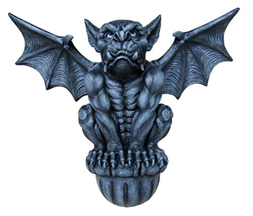 DWK - Castle Guardian - Large Indoor Outdoor Medieval Gargoyle Statue Architectural Wall Mounted Hanging Halloween Gothic Home Décor Accent, Stone Finish, 20-inch