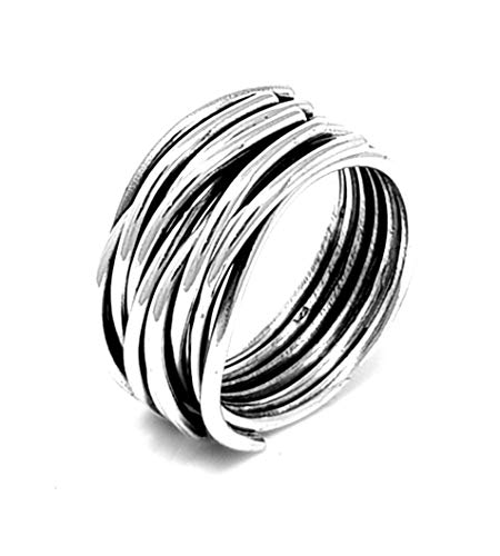 TreasureBay Popular Womens 925 Sterling Silver, Chunky Silver Wrap Around Ring (P)