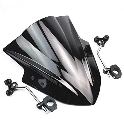 XDT Motorrad Windschutzscheibe Windschutzscheibe Mit Verstellbarer Halterung Gepasst Fit for Kawasaki Z250 Z300 Z650 Z750 Z800 Z900 KLE650 VERSYS1000 CFmoto ER6 Zubehör Windschild (Color : Black)