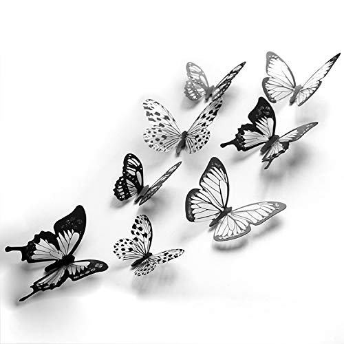 48 piezas 3D mariposa decoración de cristal pegatinas de pared decoración calcomanías de pared
