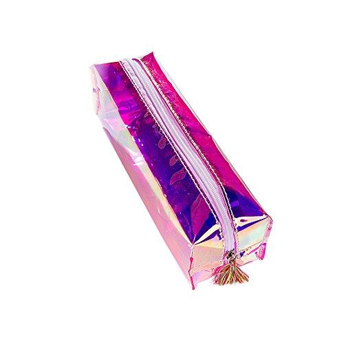 iSpchen Sac à Paillettes de Mode Trousse Sac de Maquillage de Sac Cosmétique pour Boy Girl Teenager,Sac de Papeterie Créative, 19.5x5x6cm,Violet