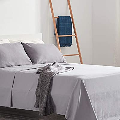 SLEEP ZONE Bed Sheet Sets Cozy Brushed Microfiber Soft Wrinkle Free Fade Resistant with 16 inch Deep Pocket Easy Care Sheets 4 PC, Gull Gray,King