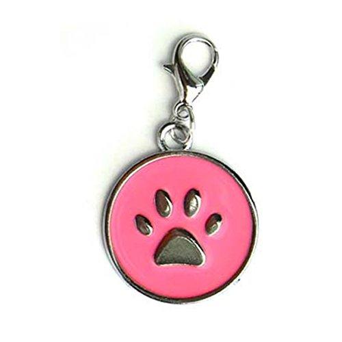 Technocoppe medaillon met gravure van verchroomd metaal en roze nagellak 25 mm met charmhaak