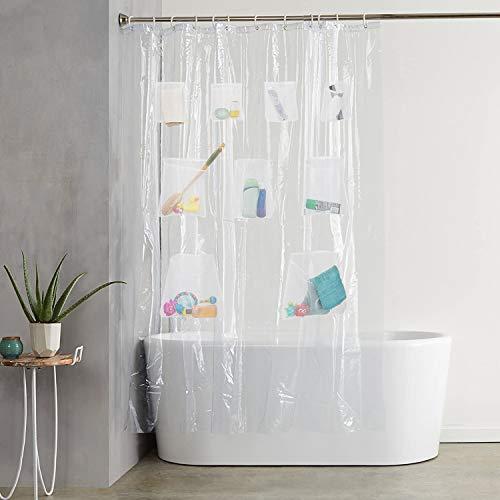 HomeyMosaic Cortina de ducha antimoho, transparente, PEVA impermeable, con 9 bolsillos de malla para almacenamiento, 180 x 180 cm, con 12 anillas, cortina de baño para bañera