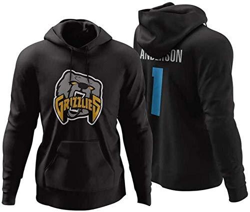 ZSPSHOP Sudadera de baloncesto de la NBA, Memphis Grizzlies Morant Jersey de entrenamiento con capucha para hombre de manga larga casual n.º 12 n.º 50 (color negro1, tamaño: grande)