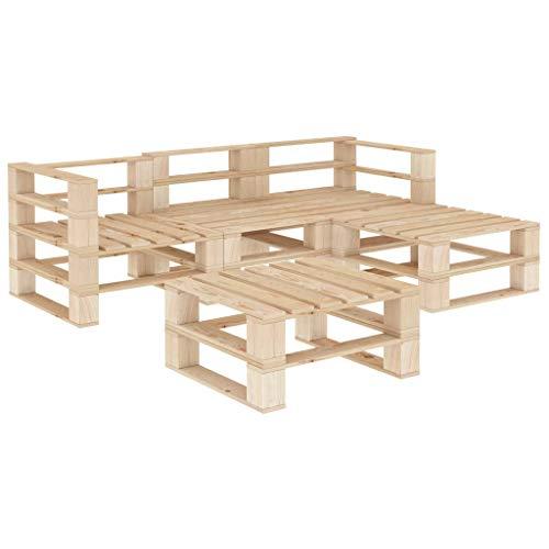 Festnight Juego de Muebles de Palés para Jardín Conjunto Rinconera Sofá Palets 5 Piezas de Madera con 2 Sofá Esquinero 1 Sofás Centrales y 2 Mesa