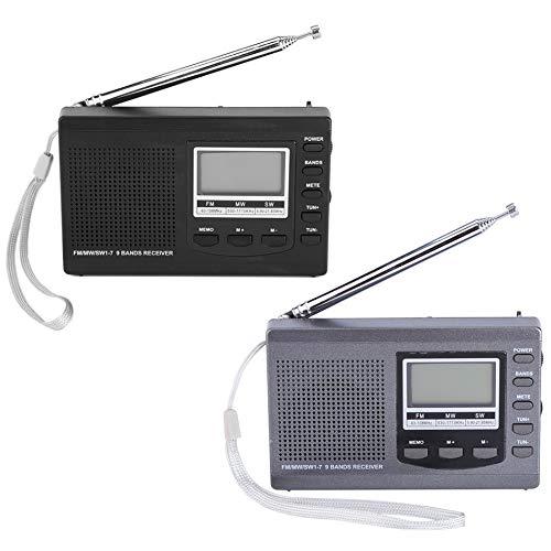 JIAMIN Dispositivos de audio y vídeo portátil Mini FM MW SW reloj despertador digital receptor de radio FM (color: gris)