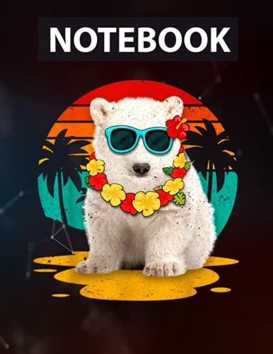 Vintage Pola Bear Wearing Sunglasses Hawaii Summer Men Women Notebook CollegeRuled / 130 Pages / Large 8.5''x11''