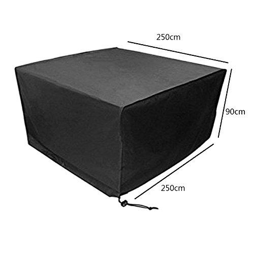 Deylaying Noir Table Chaise Meuble de Rangement Housse de Protection pour extérieur étanche Jardin Patio 250 * 250 * 90CM