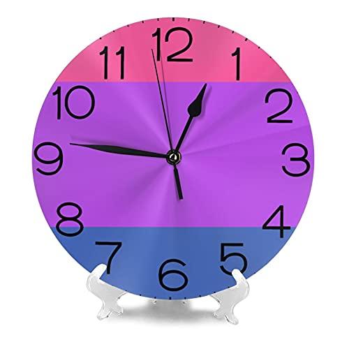 Bisexual Pride Flag Reloj de pared de 9.8 pulgadas silencioso redondo reloj de pared funciona con pilas, no hace tictacs creativo decorativo