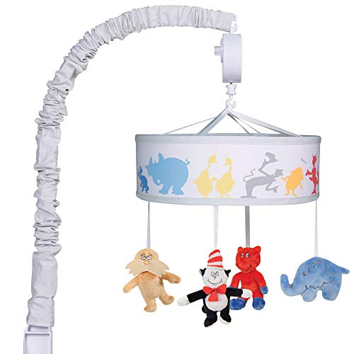Dr Seuss Friends Baby Crib Musical Mobile - Cat in The Hat, Lorax, Horton, Fox in Socks